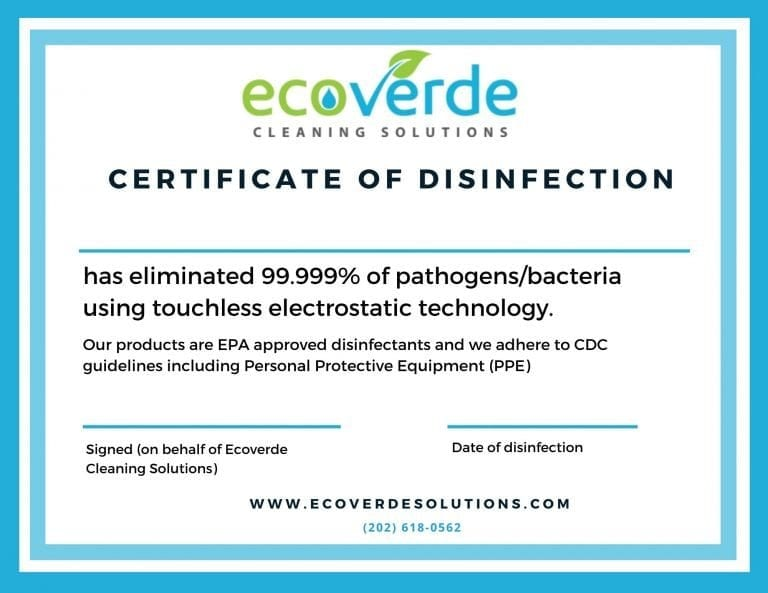 Sanitizing and Disinfecting Services, Certificate of Disinfection